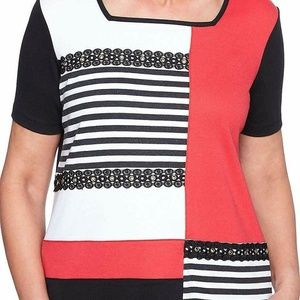 Alfred Dunner Womens 2X J6-01 Black Red Striped
